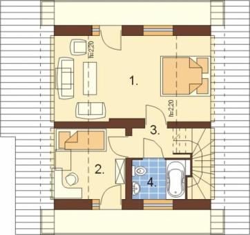 Одноэтажный коттедж с мансардой